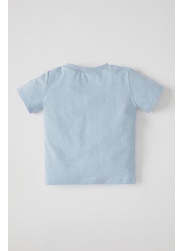 DeFacto Erkek Bebek Yazı Baskılı Kısa Kol Pamuklu Tişört Mavi
